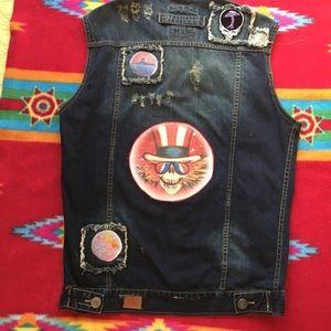 Grateful Dead Patched Denim Vest+FREE NWT GD Shirt